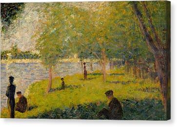 Study For Sunday Afternoon On The Island Of La Grand Jatte Canvas Print by Georges Pierre Seurat