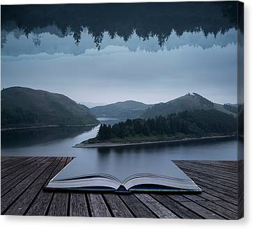 Reverse Art Canvas Print - Stunning Impossible Puzzling Conceptual Landscape Image Of Lake  by Matthew Gibson