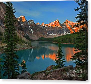 Sunrise At Moraine Lake Canvas Print by Yefim Bam