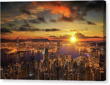 Tsui Canvas Print - Sunrise Over Victoria Harbor As Viewed Atop Victoria Peak by Anek Suwannaphoom