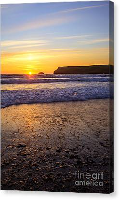 Sunset At Polzeath Canvas Print by Amanda Elwell