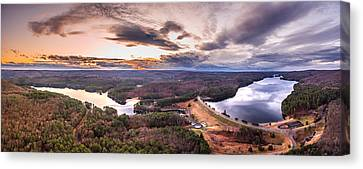 Sunset At Saville Dam - Barkhamsted Reservoir Connecticut Canvas Print by Petr Hejl