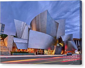 Sunset At The Walt Disney Concert Hall In Downtown Los Angeles. Canvas Print