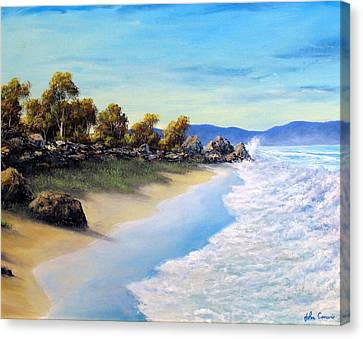 Surf Surge Canvas Print by John Cocoris