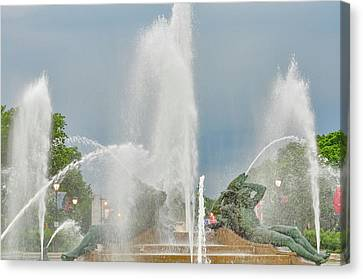 Swann Fountain - Philadelphia Canvas Print by Bill Cannon