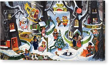 Policeman Canvas Print - Teddy Bear Christmas Card by William Francis Phillipps