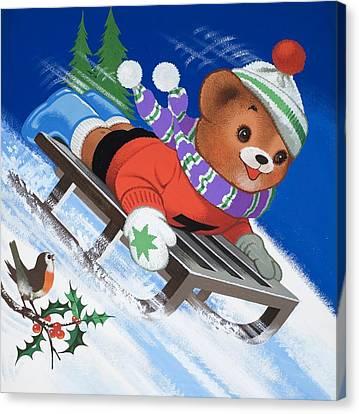 Teddy Bear Sleigh Ride Canvas Print