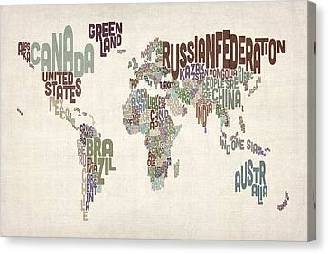 Text Map Of The World Canvas Print by Michael Tompsett