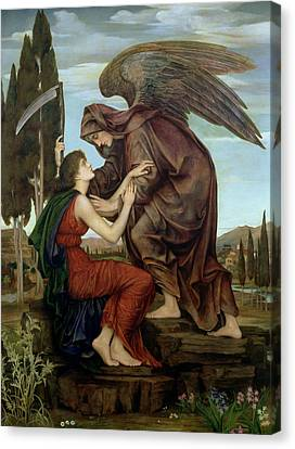 Super Girl Canvas Print - The Angel Of Death by Evelyn De Morgan