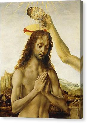Baptising Canvas Print - The Baptism Of Christ by Leonardo Da Vinci