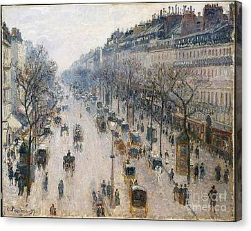 The Boulevards Canvas Print - The Boulevard Montmartre On A Winter Morning by Celestial Images