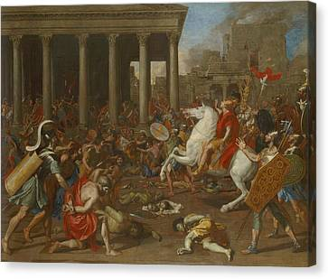 The Conquest Of Jerusalem By Emperor Titus Canvas Print by Nicolas Poussin