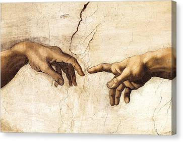 The Creation Of Adam Canvas Print by Michelangelo