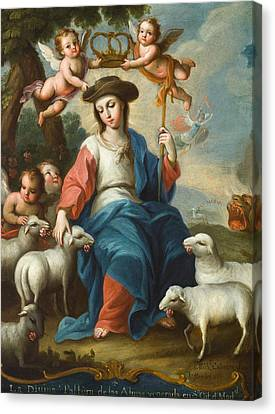The Divine Shepherdess Canvas Print by Miguel Cabrera