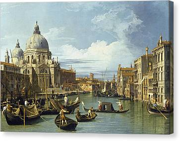 The Entrance To The Grand Canal, Venice Canvas Print by Canaletto
