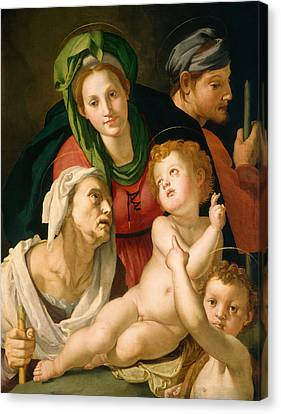 The Holy Family Canvas Print by Bronzino
