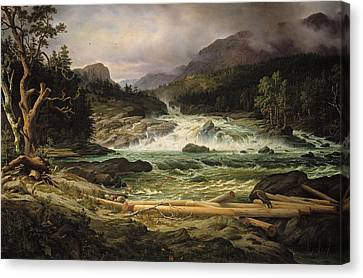 Fearnley Canvas Print - The Labro Falls At Kongsberg by Thomas Fearnley