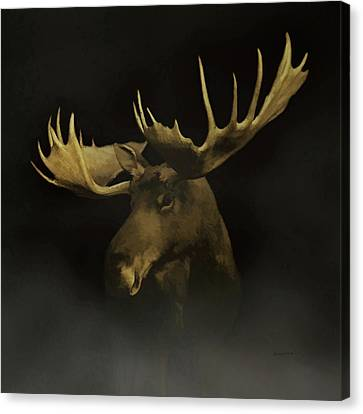Mountain Cabin Canvas Print - The Moose by Ernie Echols