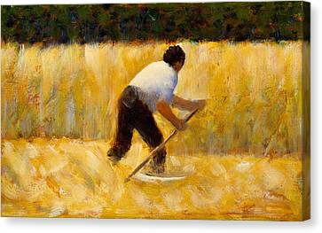 The Mower Canvas Print by Georges Seurat