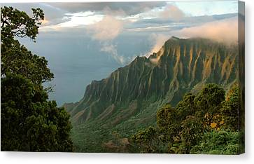 Canvas Print featuring the photograph Napali Coast Sunset by Stephen  Vecchiotti