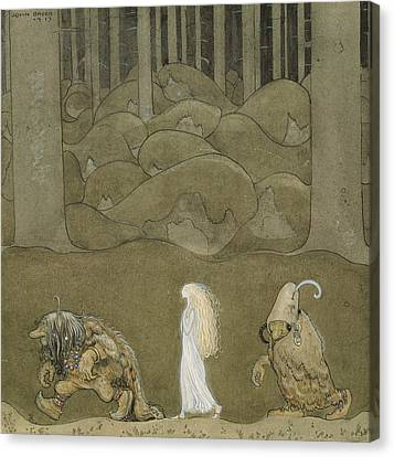 The Princess And The Trolls Canvas Print by John Bauer
