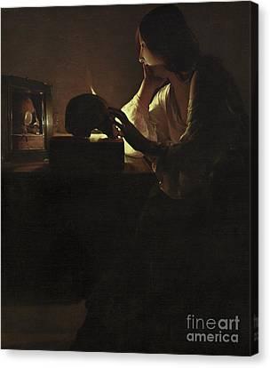 Chin On Hand Canvas Print - The Repentant Magdalen by Georges de la Tour