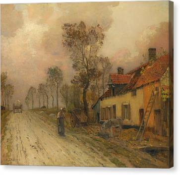 Canvas Print featuring the painting The Route Nationale At Samer by Jean-Charles Cazin