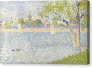Seurat Canvas Print - The Seine Seen From La Grande Jatte by PixBreak Art