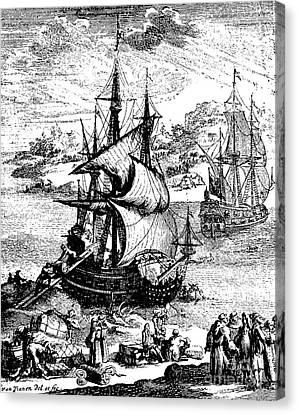 The Stranding Of The Aimable, Matagorda Bay, Texas, 1685 Canvas Print