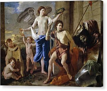 David And Goliath Canvas Print - The Triumph Of David by Nicolas Poussin