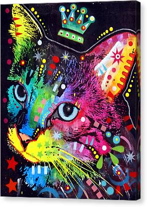 Thinking Cat Crowned Canvas Print by Dean Russo