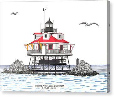 Thomas Point Shoal Lighthouse Canvas Print by Frederic Kohli