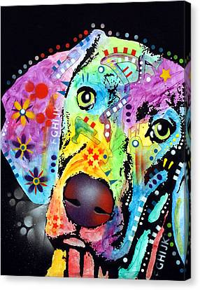 Canvas Print featuring the painting Thoughtful Weimaraner by Dean Russo