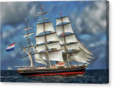 Three Mast Schooner Canvas Print by Anthony Dezenzio