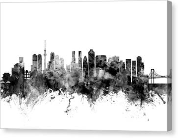 Tokyo Skyline Canvas Print - Tokyo Japan Skyline by Michael Tompsett