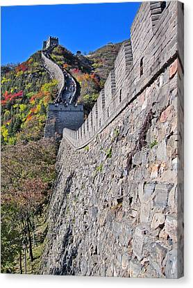 Top View. The Great Wall Of China. Canvas Print by Andy Za