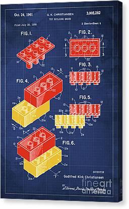 Toy Building Brick Patent Year 1958 Blueprint Canvas Print by Pablo Franchi