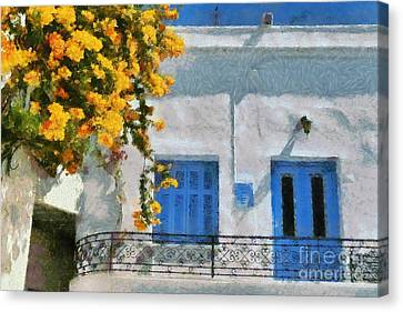 Sunny Canvas Print - Painting Of House With Traditional Architecture by George Atsametakis