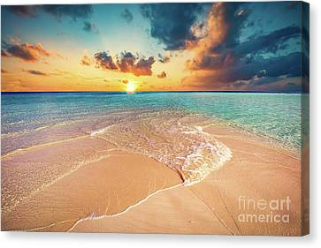 Tropical Beach With White Sand And Clear Turquoise Ocean. Maldives Canvas Print