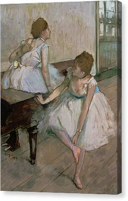 Two Dancers Resting Canvas Print by Edgar Degas