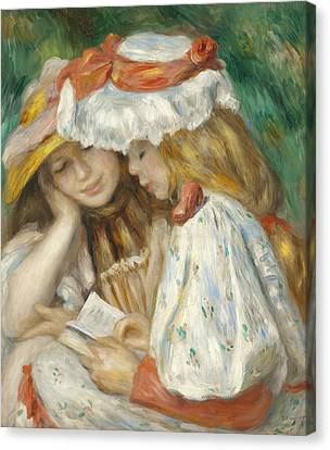 Two Girls Reading Canvas Print by Pierre Auguste Renoir