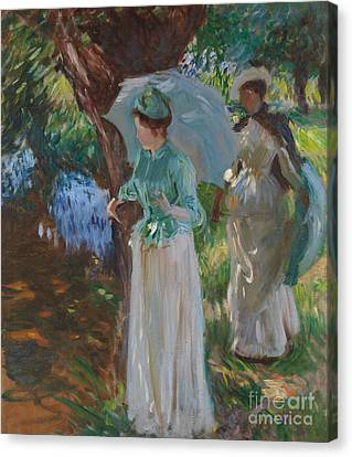Two Girls With Parasols Canvas Print by John Singer Sargent