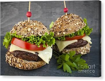 Cheese Canvas Print - Two Gourmet Hamburgers by Elena Elisseeva