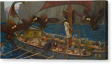 Ulysses And The Sirens Canvas Print by John William Waterhouse