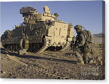 U.s. Army Soldiers Provide Security Canvas Print by Stocktrek Images