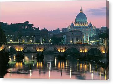 Vatican Skyline  View Of St Peters Basilica In The Evening Canvas Print by Italian School