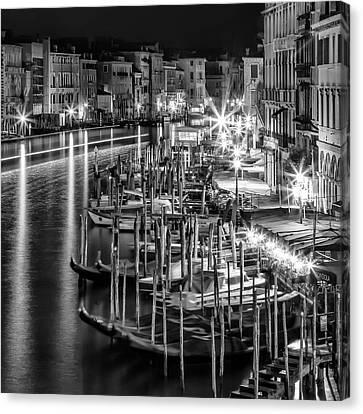 Venice View From Rialto Bridge - Monochrome Canvas Print by Melanie Viola