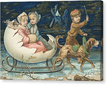 Victorian Christmas Card Canvas Print by English School