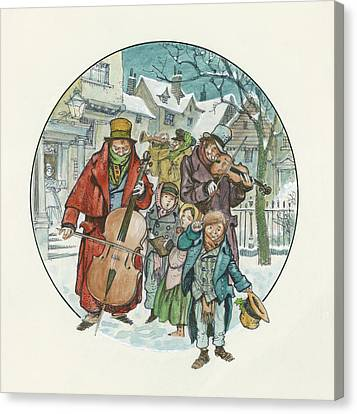 Victorian Christmas Scene Canvas Print by Peter Jackson