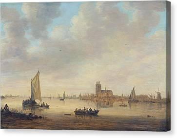 View Of Dordrecht From The Dordtse Kil Canvas Print by Jan van Goyen